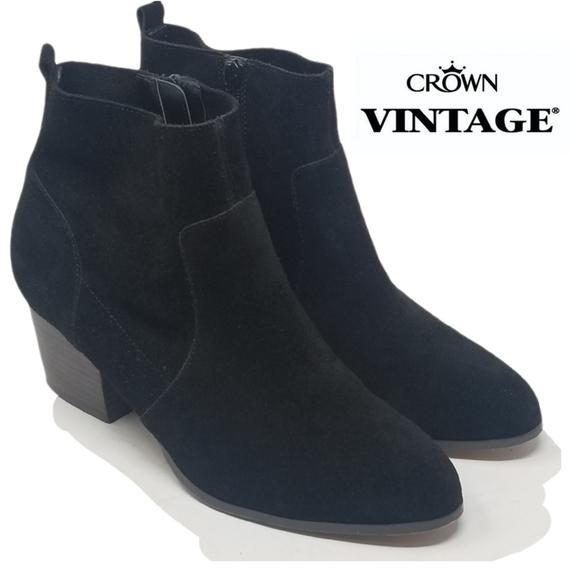 Crown Vintage Tabitha Black Suede Leather Booties